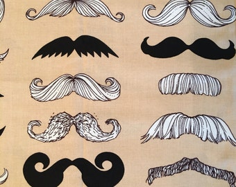 Mustache fabric - Where's my Stache? by Alexander Henry Fabric - Stache fabric