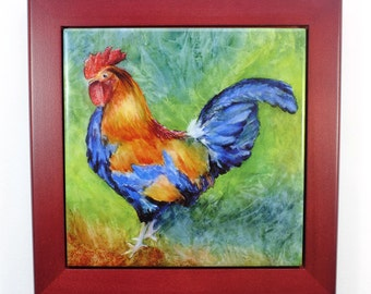 Rooster Framed Tile Wall Art or Trivet Original Watercolor