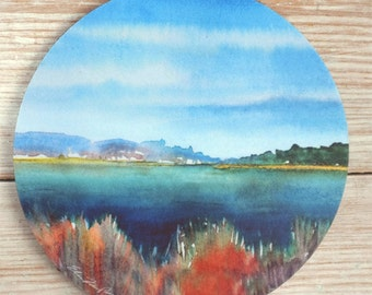 Ocean and Grasses Mousepad Fine Art Mouse Pad Original Watercolor