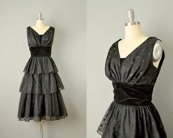 SALE 50s Dress // 1950's Black Flocked Polka Dot Tiered Chiffon Dress // Small