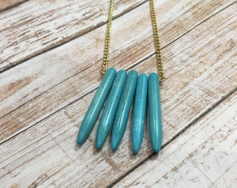 Turquoise spike necklace/turquoise necklace