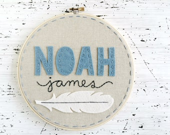Personalized Hoop Art for Baby Nursery or Child - First and Middle Names with Feather - Felt and Embroidery Tribal / Woodland Decor