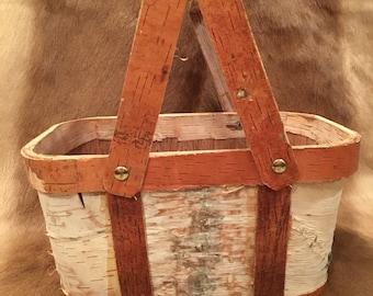 Birch Bark Basket with Handles
