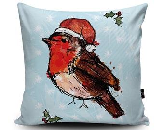 Christmas Robin Cushion, Christmas Robin Pillow, Xmas Robin, Christmas Decor, Christmas Bedding Bird Cushion Decoration by Louise Whitmore