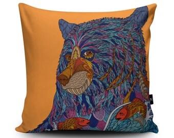 Bear Cushion, Bear Pillow, Bear Cushion Cover, Bear Pillow Case, Orange Cushion, Home Decor, 18inch / 23.6inch Faux Suede Cushion by Paul