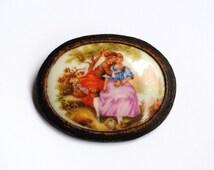 Vintage French Porcelain Brooch