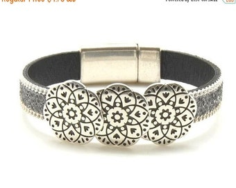 On Sale NOW 25%OFF Floral Carved Sliders For 5-10mm Flat Leather Antique Silver Z1460 Qty 2