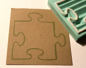 Puzzle Piece Rubber Stamp Hand Carved  Ready to ship
