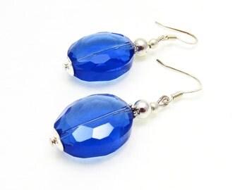 Bridesmaid Sapphire Blue Earrings, Blue Crystal Earrings, Blue Earrings, Drop Earrings, Blue Jewelry