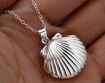 Silver Mermaid Shell Locket Necklace