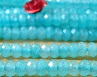 120 pcs of Dyed Blue Jade faceted rondelle beads in 3x4mm