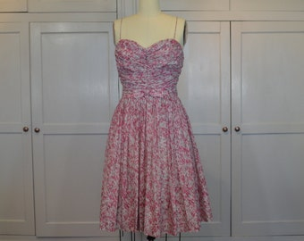 60's Sweet Dress in Pinks and White Cotton Shirred Bodice