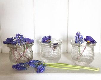Edwardian glass honey jar tea light holders