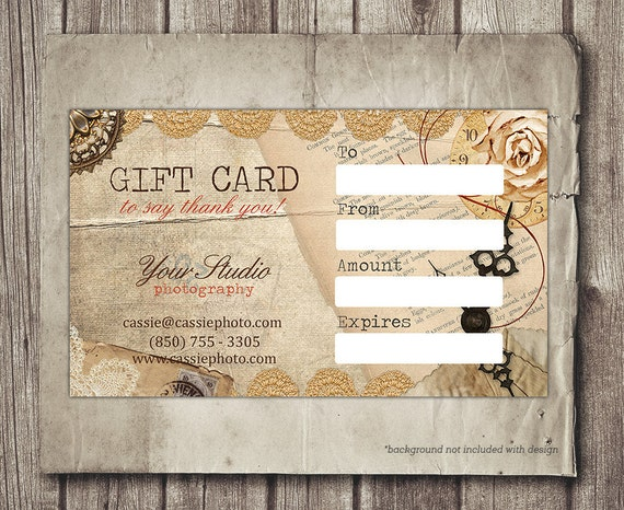 vintage gift card printable digital gift certificate