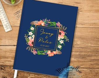 Wedding Guest Book Custom Guest book, Wedding Gift for bride, Navy Blue Guest Book Keepsake, Faux Gold Wedding Guestbook Bridal Shower Gift