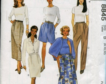 1990s Skirt Pattern McCalls 8845 Skirt Pants Shorts Pattern Womens Sewing Patterns Size 8-12 uncut