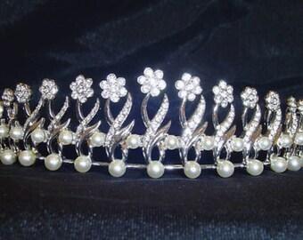 Signed Swarovski Wedding Tiara Rhodium Plated with Crystals & Pearls Swan Logo (D)