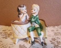 Lefton Hand Painted China Porcelain Figurines  Boy And Girl Ceramic Knick Knack Gewgaw Whatnot Curio