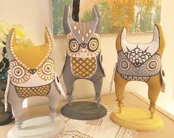 Contemporary Owl Sculptures, Owl Dolls, Owl Figures, Soft Sculpture Owls, Folk Art Owls
