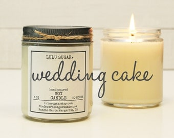 Wedding Cake Scented Soy Candle - 8 oz jar -  Soy Candle Gift / Engagement Gift / Premium Soy Candle / Bridesmaid Gift / Wedding Gift