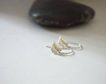 tiny leaf earrings, sterling silver, small silver leaf earrings, everyday simple jewelry, minimalist earrings, small silver earrings