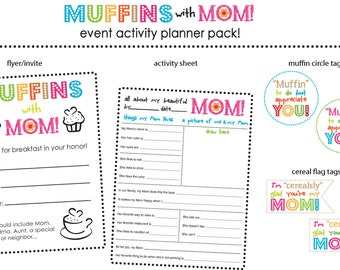 Muffins with Mom--Teacher, PTA, Mother's Day, flyer/invite, gift tags, activity sheets