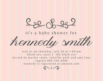 Simple Classy Lines Baby Shower Invite