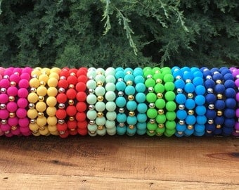 Rustic Silicone Beaded Bracelet 10mm - Elastic - Many Colors