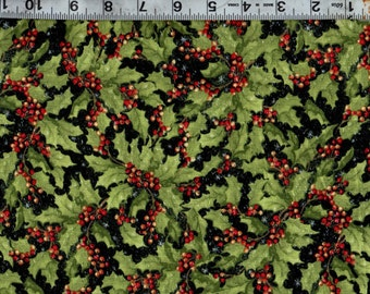 Christmas Packed Holly 100% Cotton Quilting/ Sewing  Fabric #824