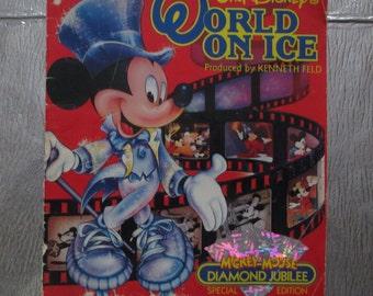 Sale! Walt Disney's World On Ice Mickey Mouse Diamond Jubilee Special Edition 1989 Souvenir Program