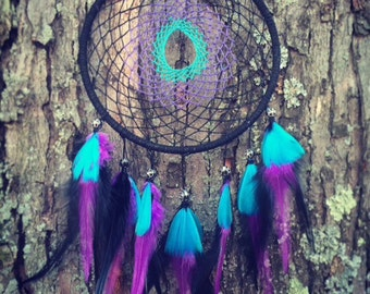 Handmade Black Purple Aqua Dreamcatcher Medium