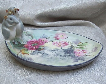 Antique GERMAN Hand - Painted PORCELAIN Scenic Pin TRAY with 2 Mice Figurines