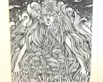 Mermaid Graphite Drawing Print