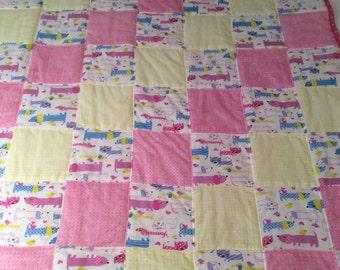 Dachshund quilt, dog blanket, baby quilt, flannel blanket, flannel quilt, cat quilt
