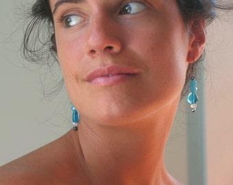 Chalcedony, blue glass, dangle earrings