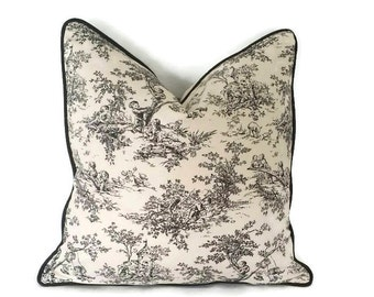Off white and Dark Brown Toile Pillow Cover