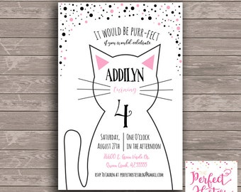 Black and White Kitty Cat- Birthday Invitation