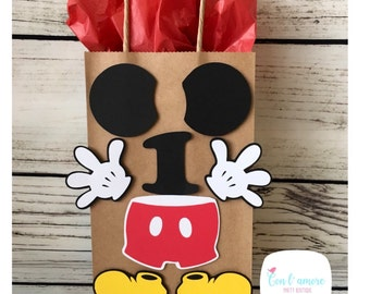 Mickey mouse birthday party favor bag, goody bag, first birthday, decorations mickey mouse birthday favor bag