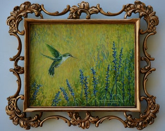 Hummingbird Oil Painting In Florentine Frame