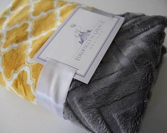 Moroccan Tile in Mustard Yellow and White with Dark Gray Embossed Chevron Back, Baby Blanket - Newborn, Baby Shower, Trellis, Lattice