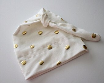 Newborn Knot Beanie Hat, Cotton, Ivory with Gold Polka Dots
