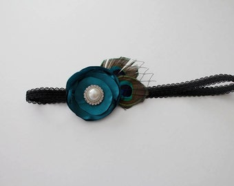 Teal Satin Lollipop Flower headband with peacock feathers, french netting, and Rhinestone or Pearl Center Stone