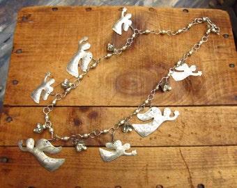 Vintage Folk Art Angel Necklace - Angels and Bells Necklace - Mexican Folk Art Necklace