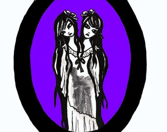 The Siamese Sisters Card - Art Print, Twins, Conjoined,  Greeting, Postal card, Elven, Gothic, Circus, Freak, Art, Artist