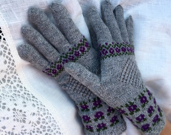 Latvian gloves Fair Isle gloves Ethnic gloves Wool gloves Women's gloves Natural wool gloves Hand made Ready to ship