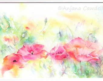 Poppy Design 3 - Blank Greetings Card, Watercolour Card, Watercolor Card, Poppy Card, Poppy Landscape