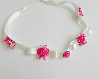 Ribbon and flower headband, baptism headband, flower girl headband, ceremony headband