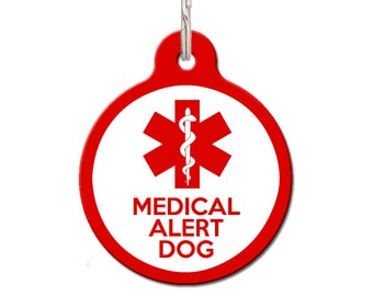 Medical Alert Dog Red Dog ID Tag   FREE Personalization