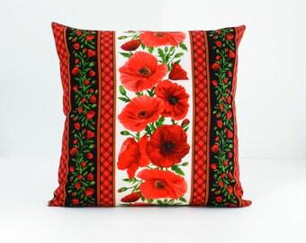 Red Pillow - Red Floral Pillow - Poppy Pillow - Accent Pillow - Bedroom Pillow - Floral Pillow - Sofa pillow - Flower Pillow