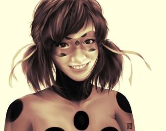 Realistic Miraculous Ladybug print